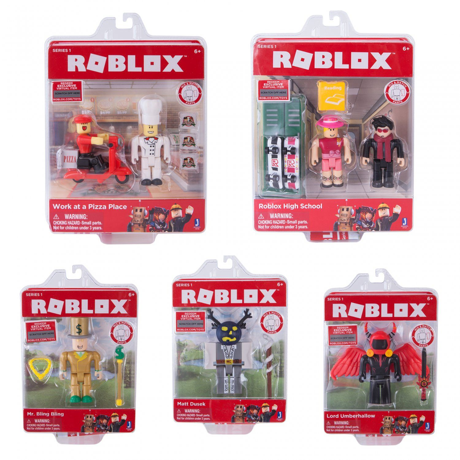 Roblox Champions Of Roblox Figure 6 Creativity Pack Roblox Set Of 5 Roblox Series 1 Core Figure Packs Mr Bling Bling 10706 Matt Dusek 10707 Lord Umberhallow 10708 Game Packs Work Roblox Pizza Place Packing