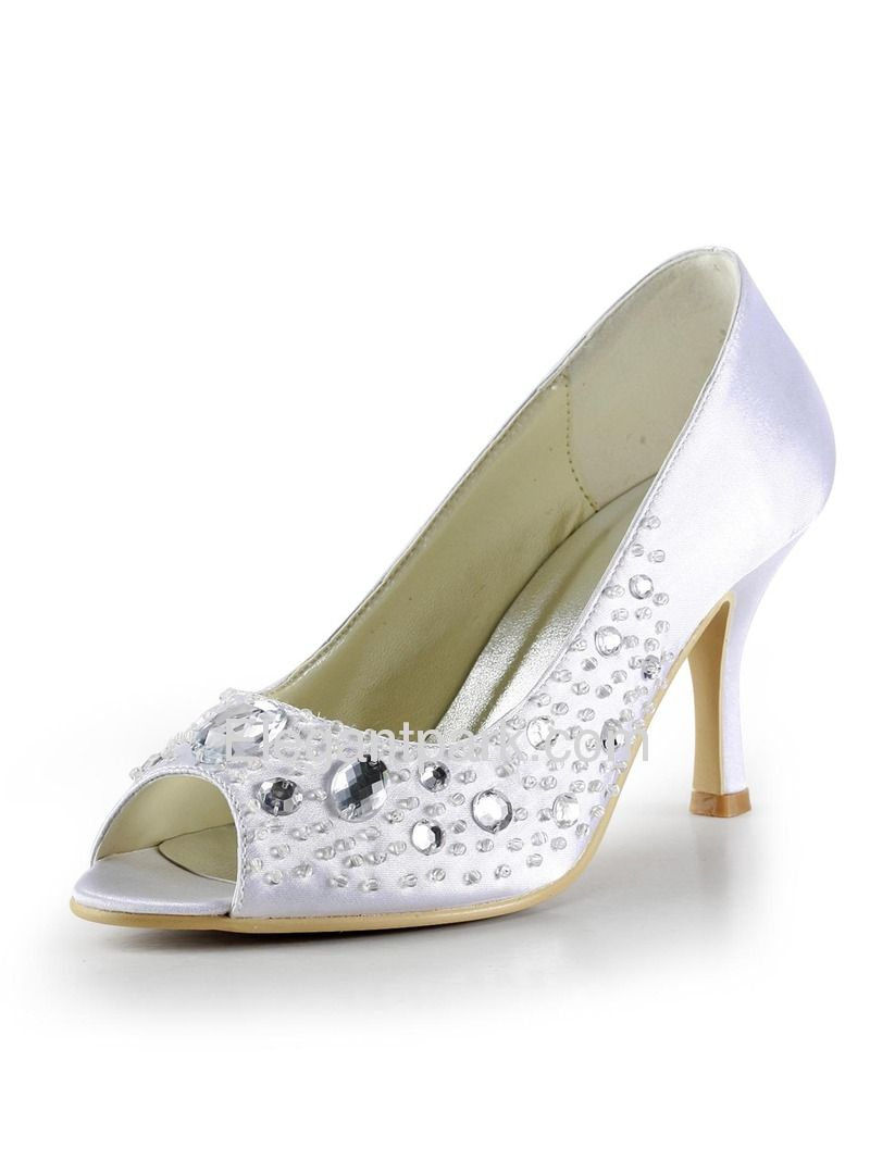 White Peep Toe Rhinestone Stiletto Heel Satin Wedding Bridal & Evening Shoes (EP2017) – Elegantpark.com