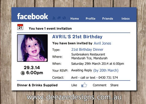 Photo Personalised Facebook Themed Birthday By Deezeedesign