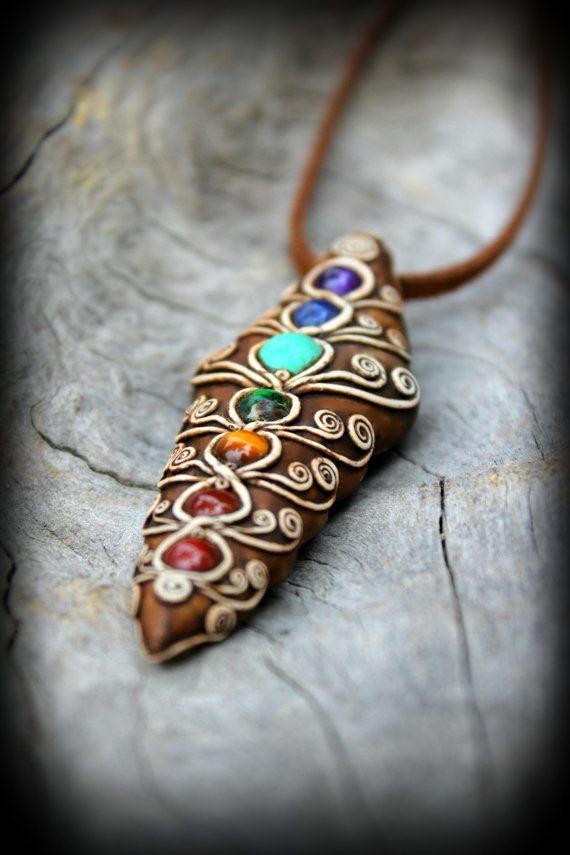 Chakra pendant gemstones bead jewelry healing by PeaceElements, €33.00