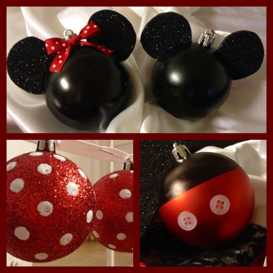 Diy Minnie Mickey Christmas Ornaments Ourfirstchristmas Goodjob Mickey Christmas Disney Christmas Tree Christmas Decorations