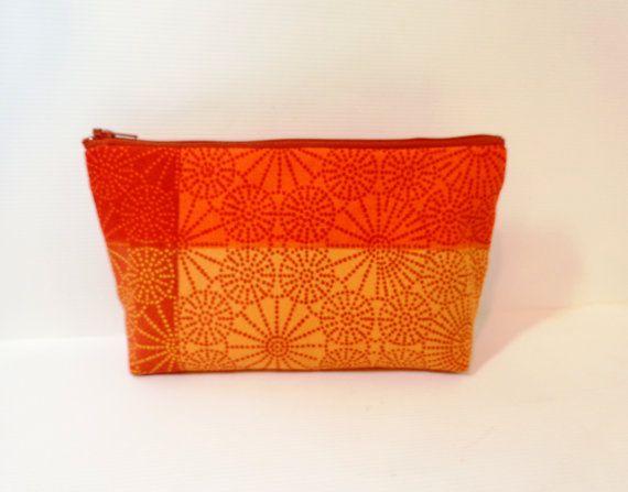 Medium Cotton Zipper  Pouch Pumpkin by handjstarcreations on Etsy, $12.50