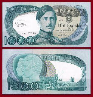 Notas de Portugal e Estrangeiro World Paper Money and Banknotes: Portugal 1000 ESCUDOS 1981 - Pick 175c: