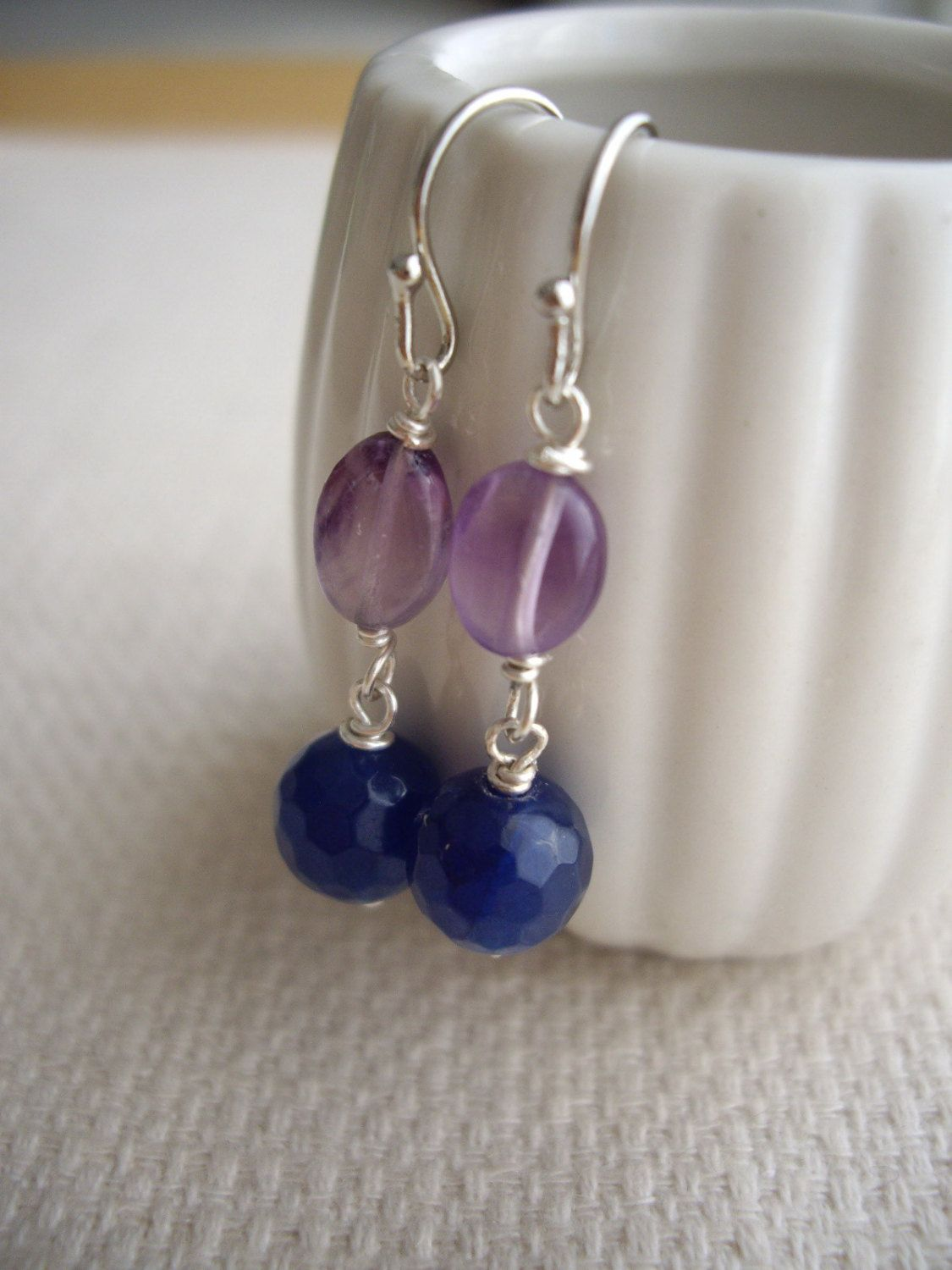 Amethyst Dangle Earrings With Blue Agate, Blue Purple Earrings, Bridesmaid  Gift, Free Gift Wrap, Clip On