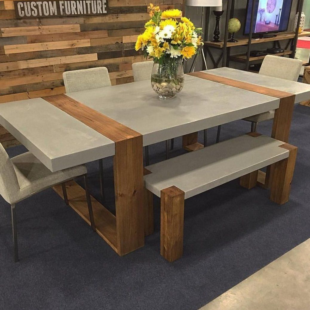Dining Table And Bench Made With Concrete And Wood Table Legotable Puzzletable Pallettable Dining Table Rustic Concrete Dining Table Dining Table Design