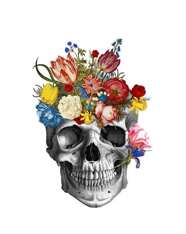 Skull With Flowers Art Print By Madame Memento Flower Art Skeleton Art Skull Art