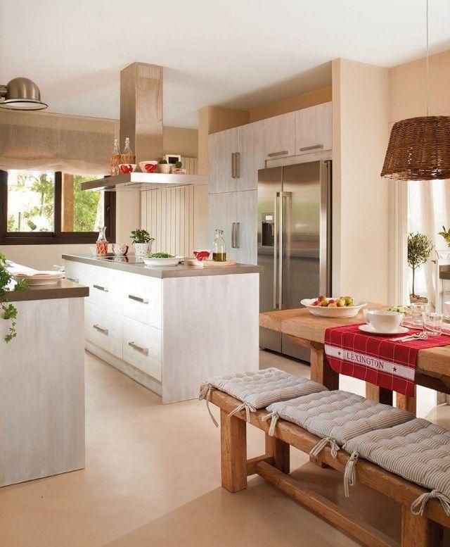 Küche Farben Ideen Weiße Küchenzeile Wandfarbe Magnolia Aprikose Landhaus  Flair