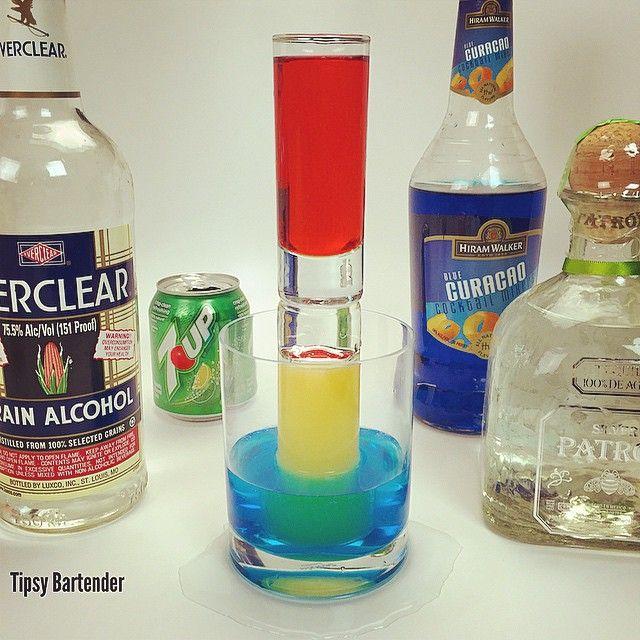 Tower Of Death Red Shot Grenadine Tequila Blue Shot Blue Curacao Lemon Lime Soda Orange Shot Everclear Tipsy Bartender Bartender Tipsy Bartender Drinks