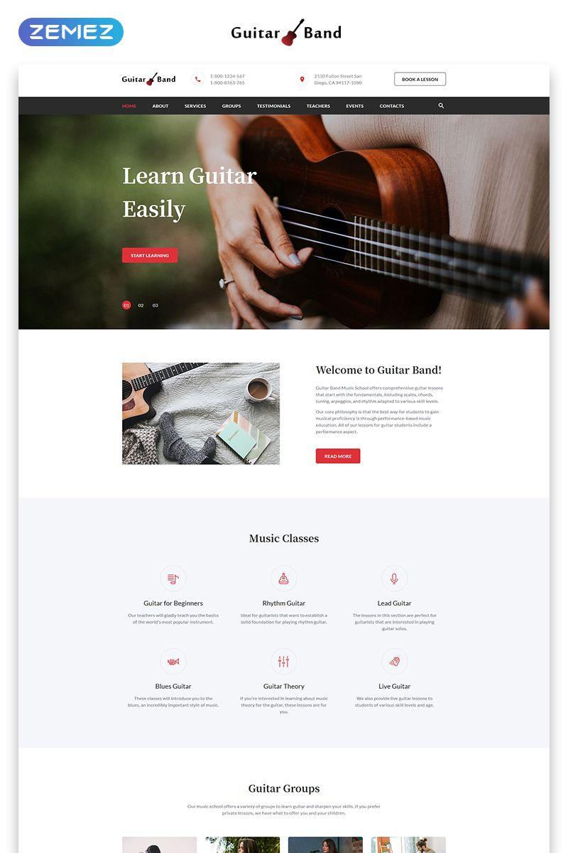 Guitar Band Cool Music School Html Landing Page Template Landingpage Cool Music Guitar Music School Landing Page School Website
