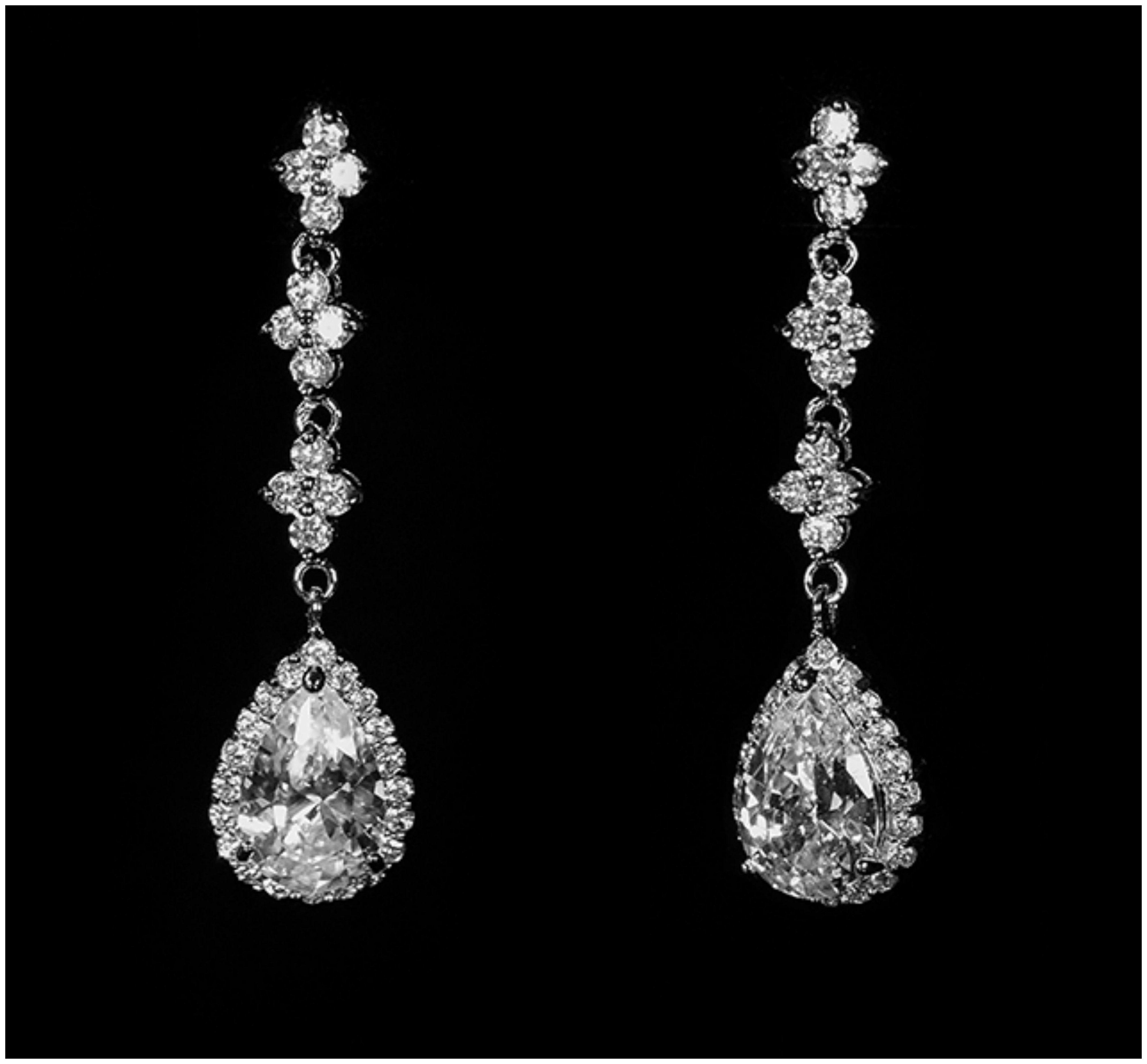 Fiala romantic pear drop halo earrings 6ct cubic zirconia fiala romantic pear drop halo earrings 6ct cubic zirconia silver arubaitofo Choice Image