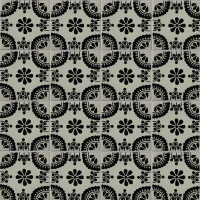 Black Madrid Talavera Mexican Tile Close Up 2 X
