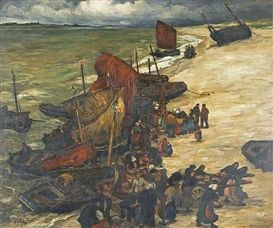 Gaston Balande, Fishing boats offloading their catch on the French coast