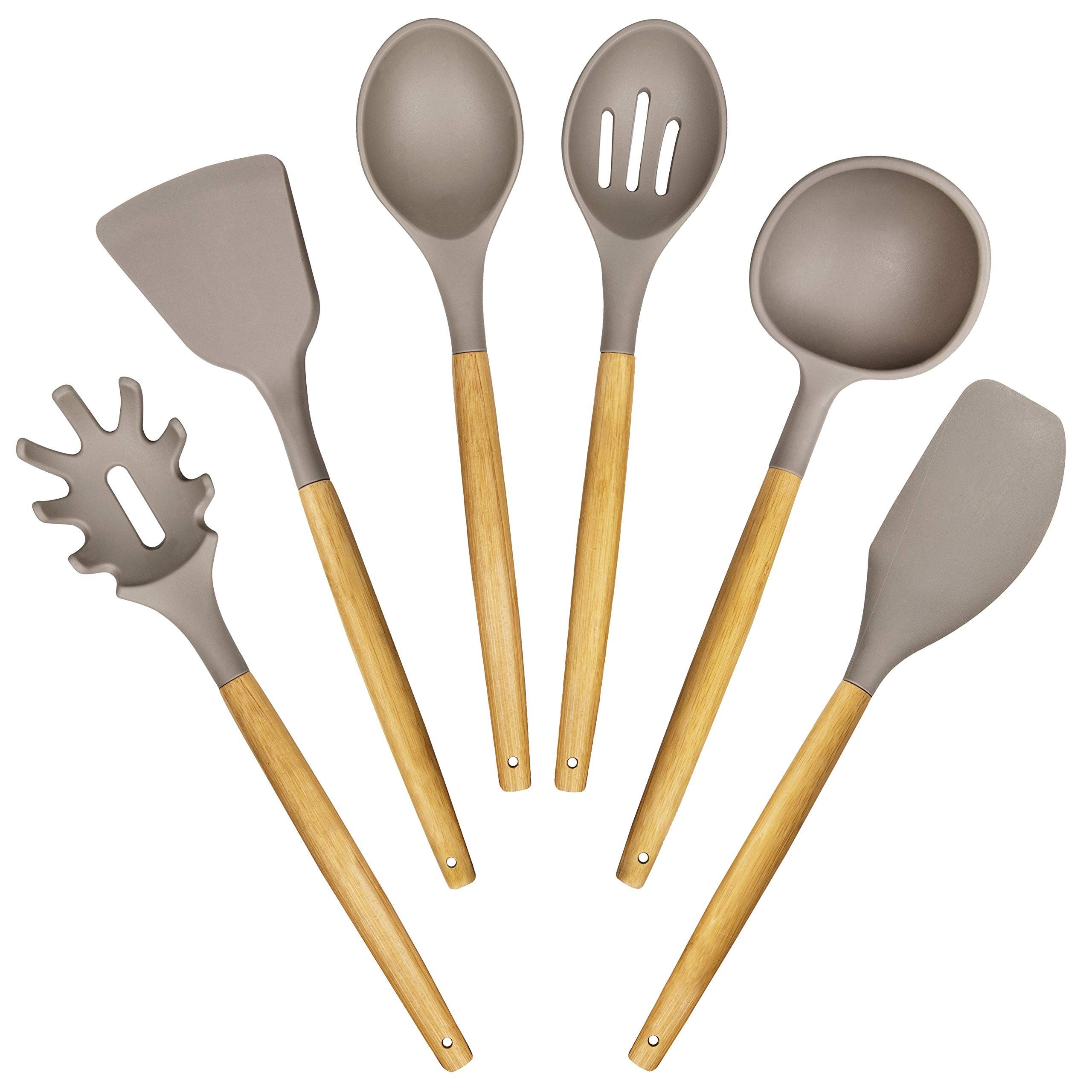 6 Pieces Bamboo Wooden Spoons /& Spatulas and 1 Holder as Bonus Heat Resistant for Non Stick Cookware Kitchen Cooking Utensils Set