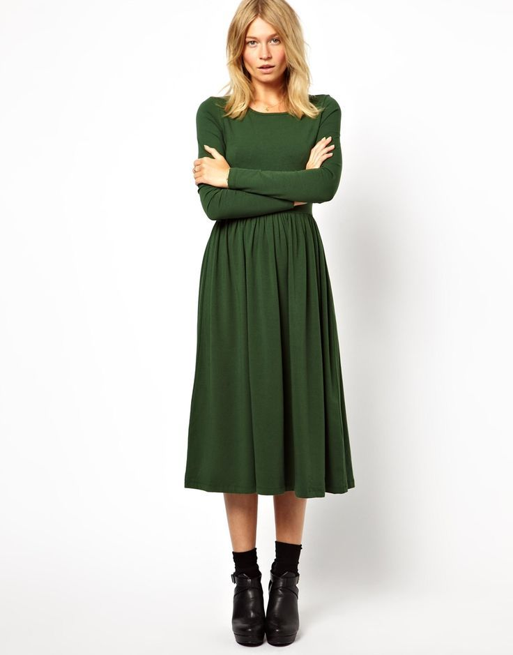 efe6769dde Midi Skater Dress With Long Sleeves Trying to think of accessories and hair  to perfect this dress.