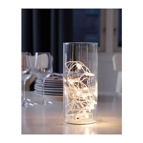 Cute idea for centerpieces. lights are $3.99 each. SÄRDAL LED lighting chain with 12 lights  - IKEA