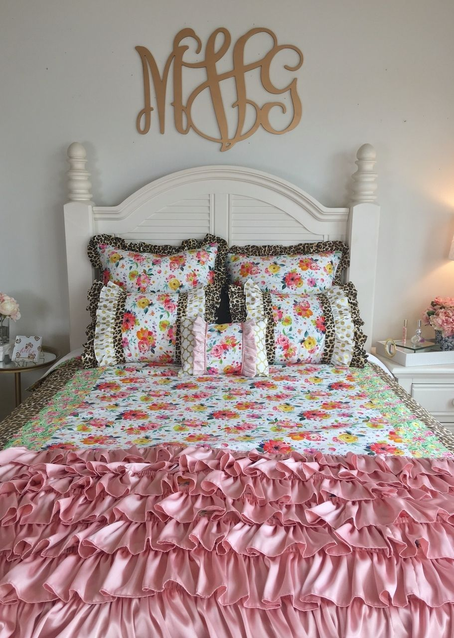 Bedding White Shabby Watercolor Floral Leopard Shell Mustard