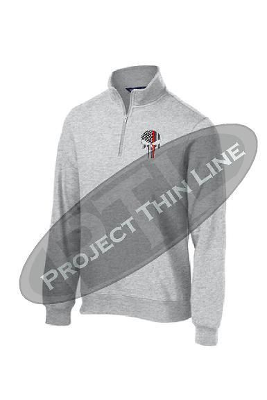 Mens Thin Red Line Skull Embroidered Firefighter Fireman 1//4 Zip Fleece Sweatshirt