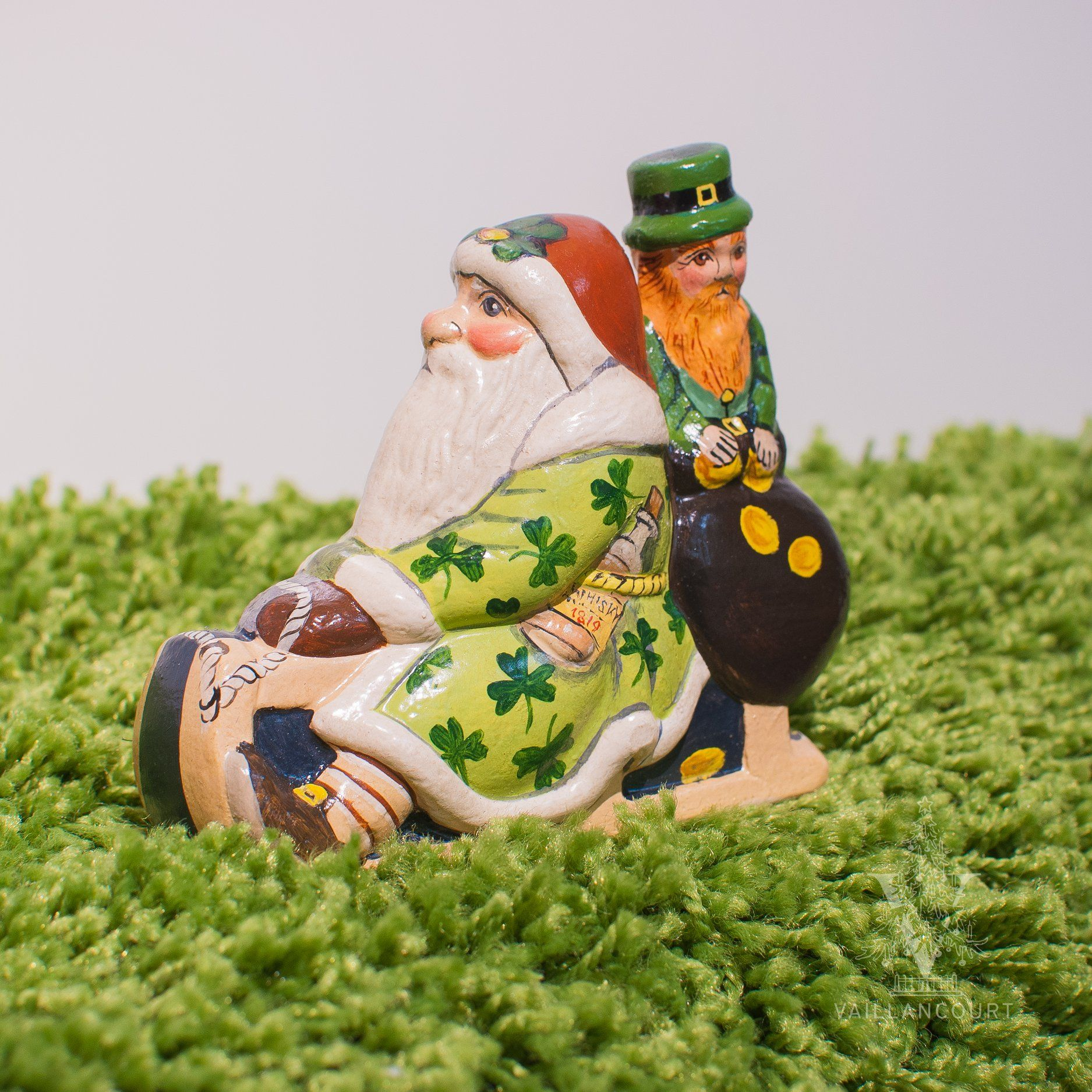 Irish Santa on Sled with Leprechaun from Vaillancourt in
