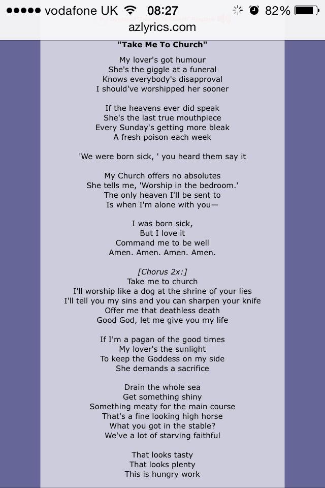 Take Me To Church Hozier Part 1 Take Me To Church Life Is Beautiful Lyrics