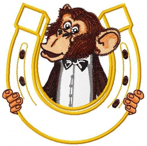 Monkey And Horseshoe Free Embroidery Design Cartoon Free