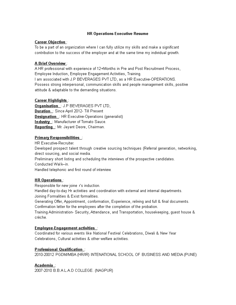 Hr Operations Executive Resume How To Create A Hr Operations Executive Resume Download This Hr Operations Executive Resume Template Executive Resume Resume