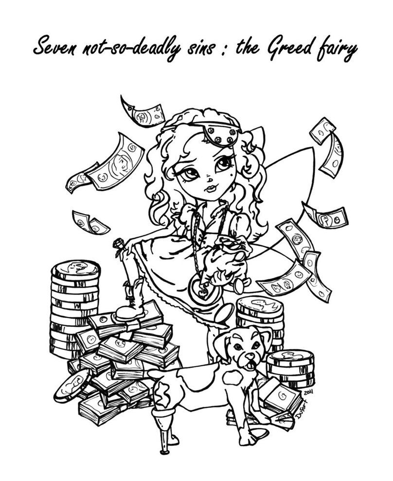 gluttony coloring pages | The Greed Fairy by JadeDragonne on deviantART | Coloring ...