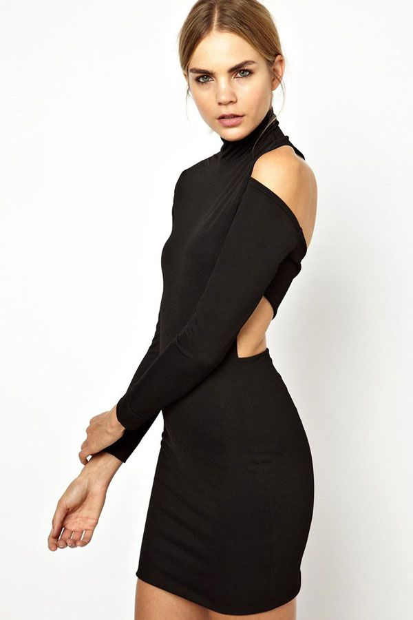 Black high collar cut out back bodycon party dress