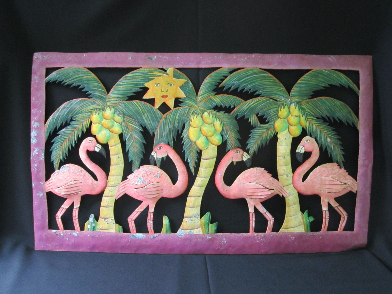 Metal Flamingo Wall Decor Chippy Metal Wall Art Tropical ...
