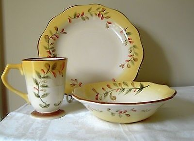 Better Homes and Gardens Tuscan Garden Retreat Dishes in Cream and Yellow