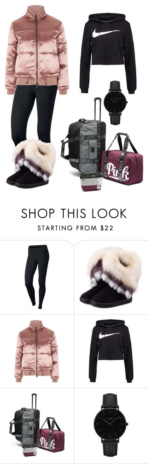 """""""Comfortable Travel on Winter"""" by eceycl ❤ liked on Polyvore featuring NIKE, WithChic, Topshop and CLUSE"""