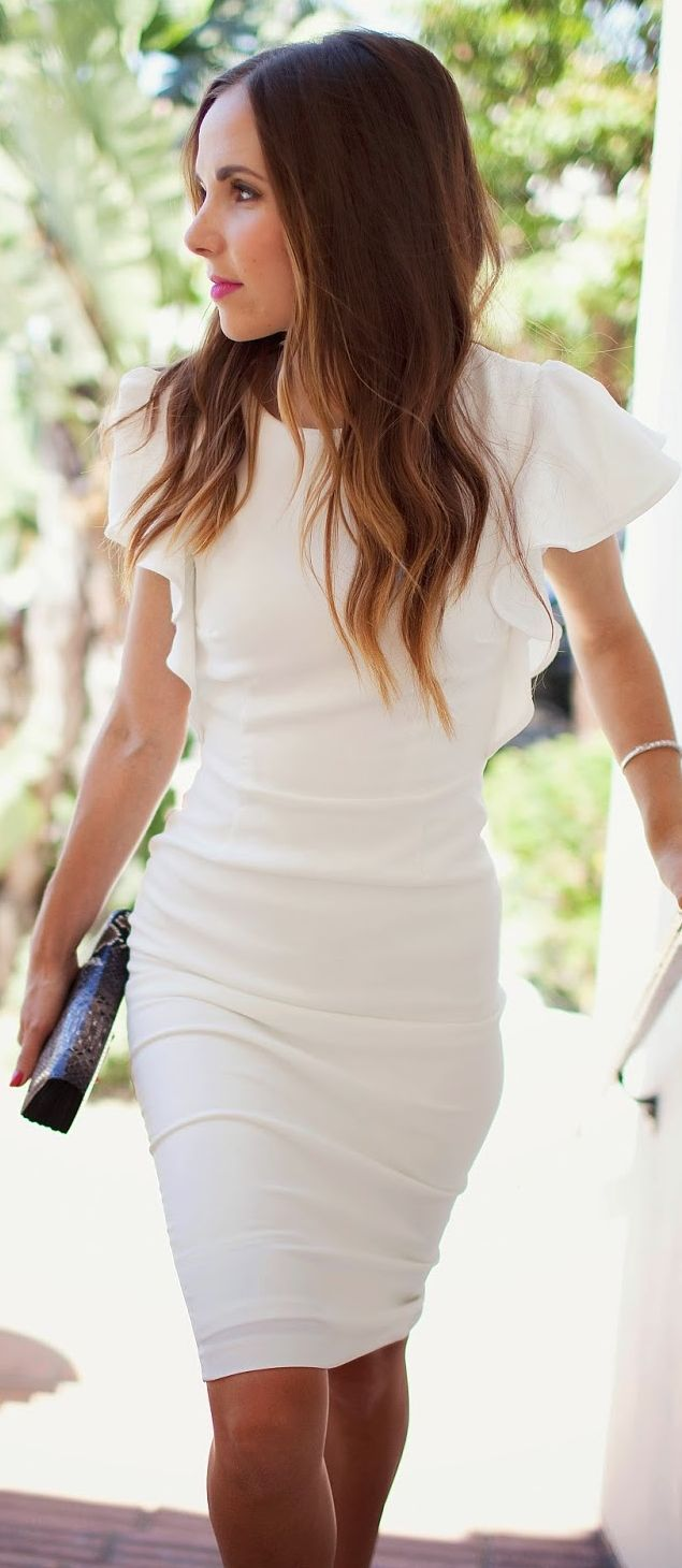 Asos White Ruffle Cap Sleeve Bodycon Midi Dress - Note: Better in Blue, Black or Aquamarine