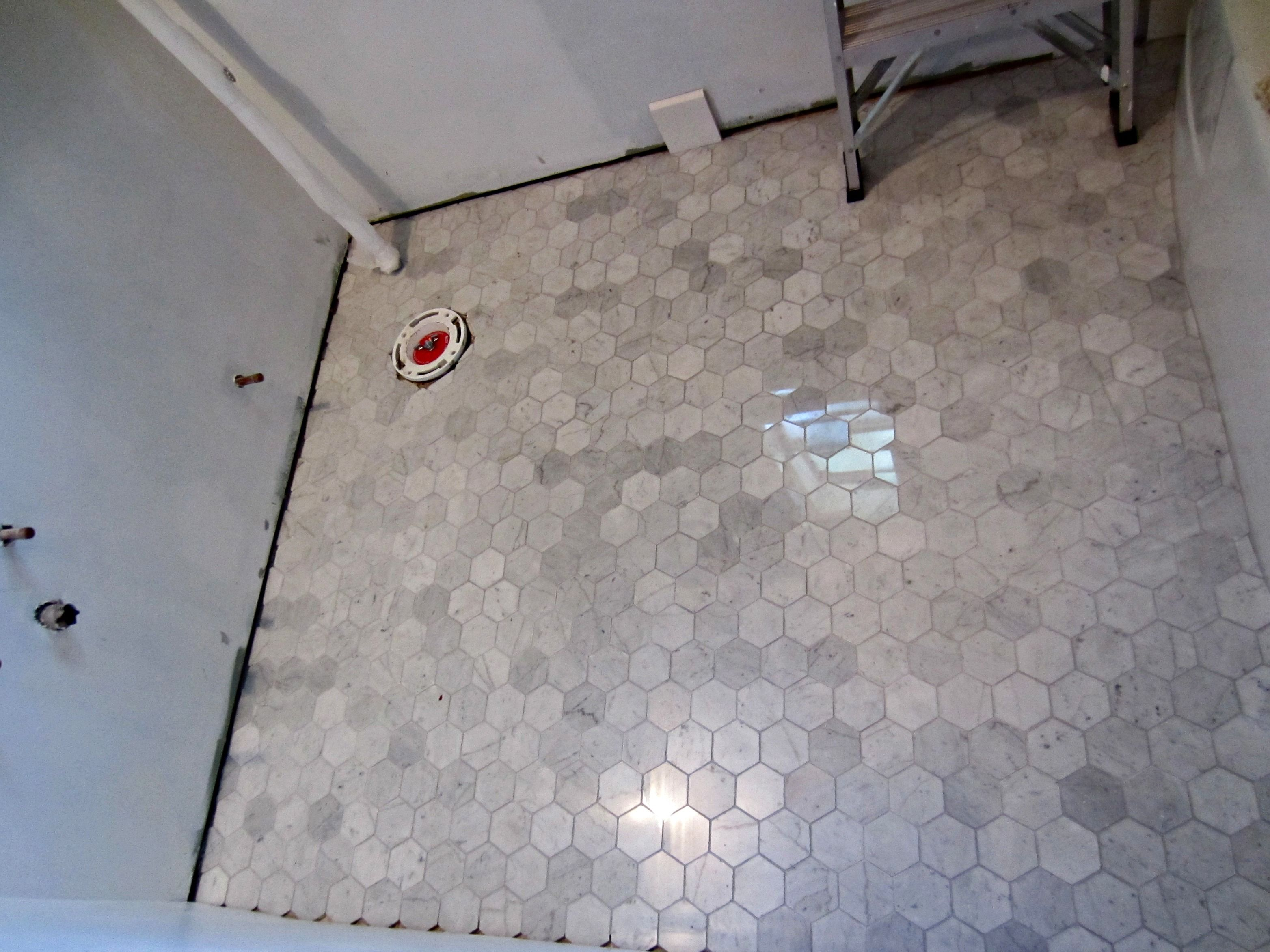 Marble hexagon with mapei silver grout kitchen renovation ideas marble hexagon with mapei silver grout dailygadgetfo Choice Image