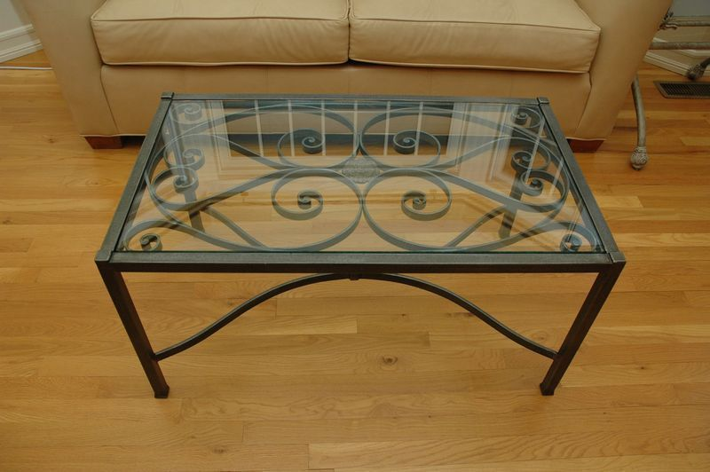Ike New Ethan Allen Glass Top And Metal Coffee Table Antique Wrought Iron Style Iron Coffee Table Coffee Table