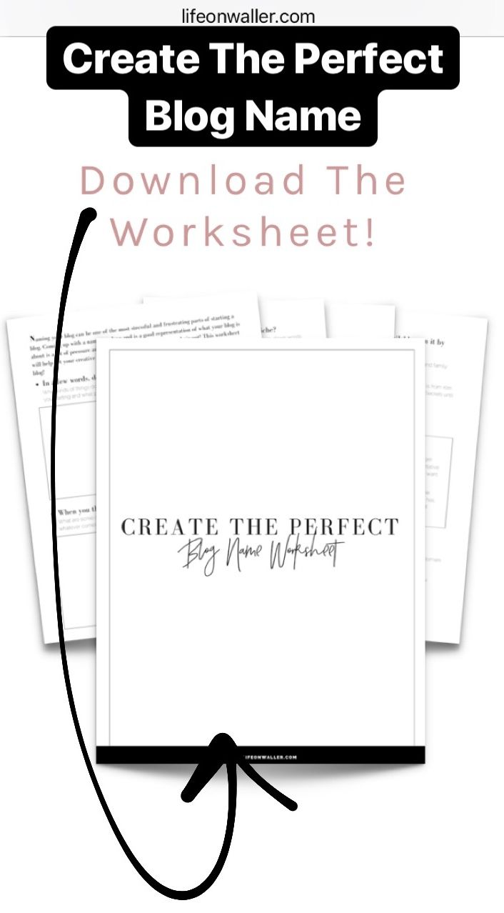 How To Create The Perfect Blog Name Free Worksheet Free