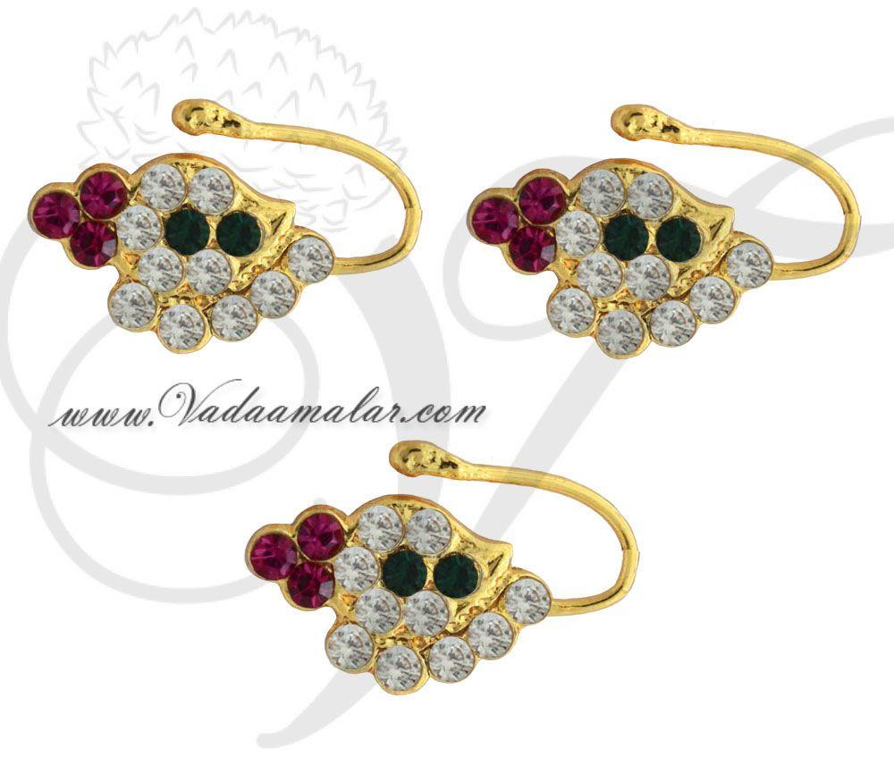3 Pieces Bharatanatyam Kuchipudi Nose Pin Nath Multi Color Stones