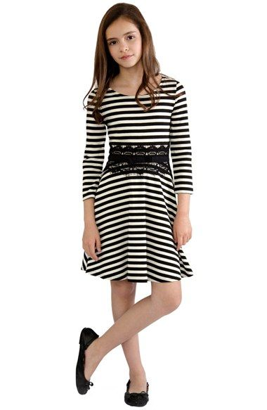 BLUSH by Us Angels Lace Trim Stripe Skater Dress (Big Girls)