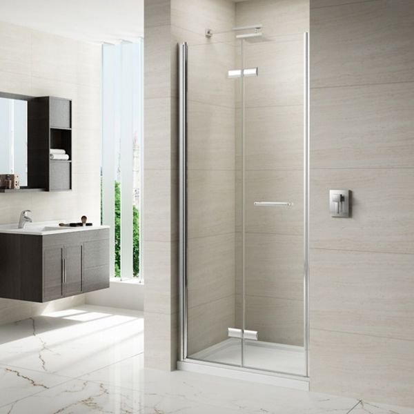 Merlyn 8 Series Frameless Hinged Bi Fold Shower Door 1000mm Wide 8mm Glass Bifold Shower Door Shower Doors Space Saving Bathroom