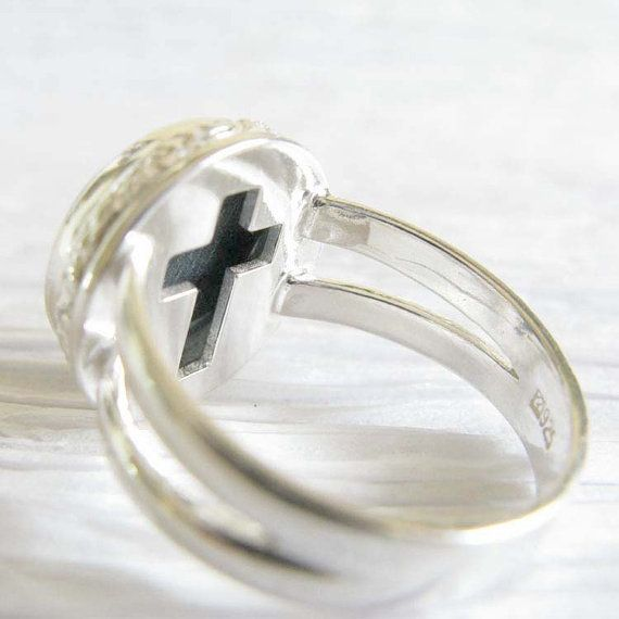Memorial ring.  Sterling silver with glass by LockedInArt on Etsy
