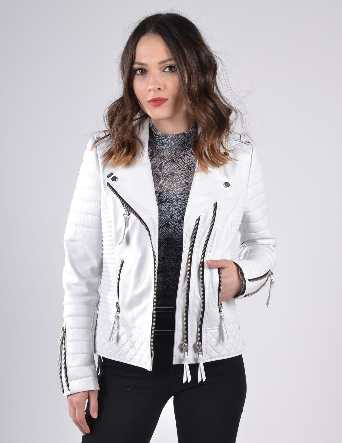 White Biker Womens Leather Jacket Venus W2048EBH