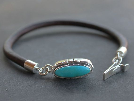 Mens Turquoise Bracelet Leather