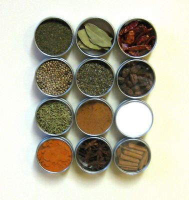 Magnetic Spice Tins 12 Round Silver Herb Storage Containers Kitchen Organization on eBay!