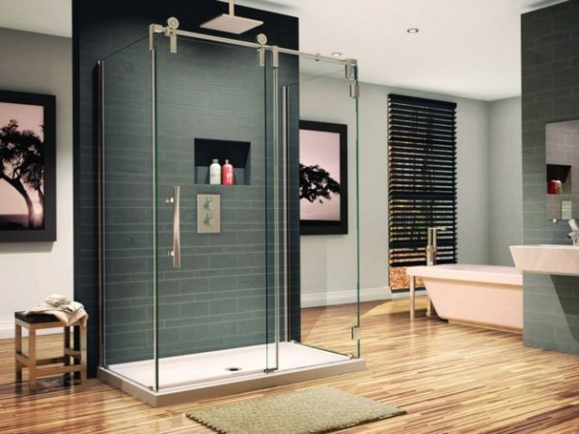 Interior Cool Bathroom Designs Images With Dark Wall Paints And Hardwood Floor With Clear Glass Do Glass Shower Bathroom Shower Design Glass Shower Enclosures