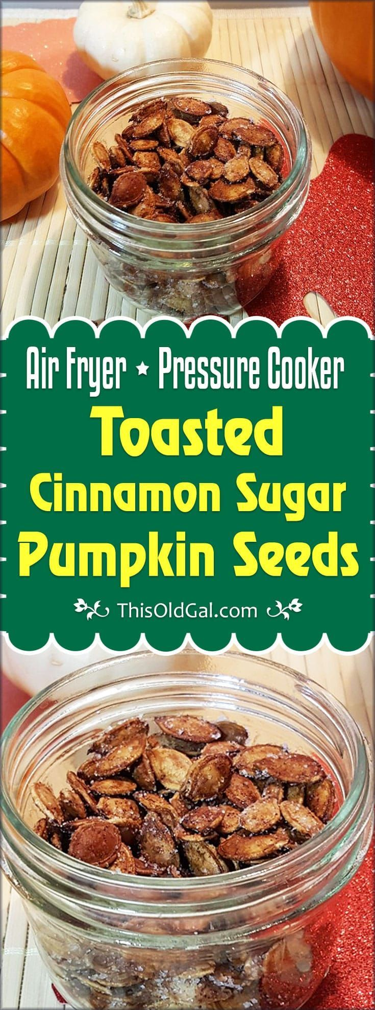 Crunchy Toasted Cinnamon Sugar Pumpkin Seeds make a sweet and healthy snack and satisfy your sweet tooth, without adding on the pounds. #pumpkinseedsrecipebaked Crunchy Toasted Cinnamon Sugar Pumpkin Seeds make a sweet and healthy snack and satisfy your sweet tooth, without adding on the pounds. #roastedpumpkinseedsrecipe