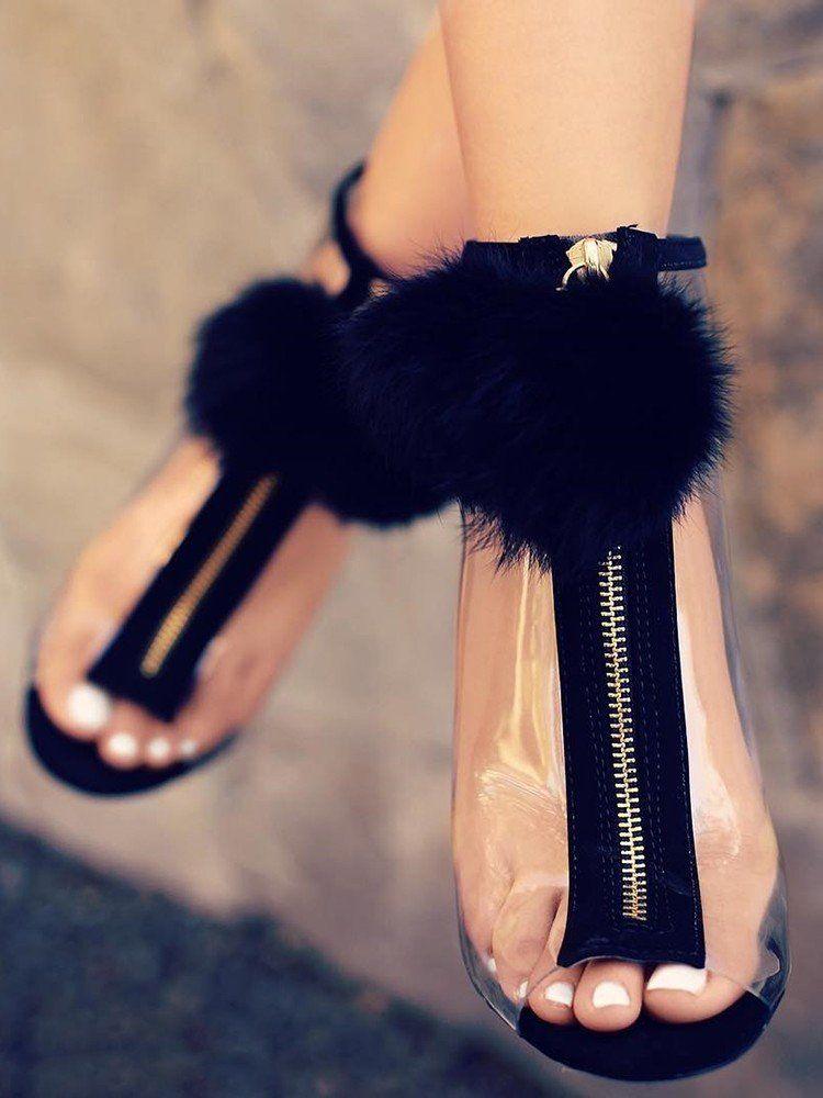 04b57073efbcfe Black Pom Pom Gold Zipper Heels