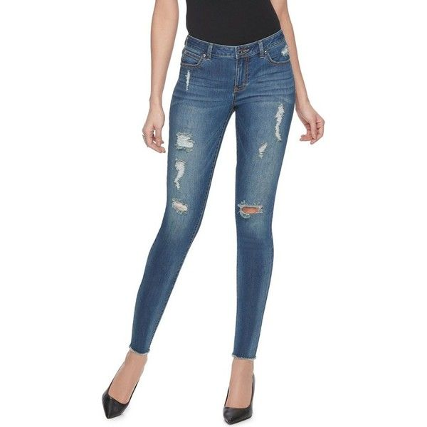 6ac72ec47e93 Finish off your casual look with these women s ripped skinny jeans from  Jennifer Lopez. In medium blue wash.