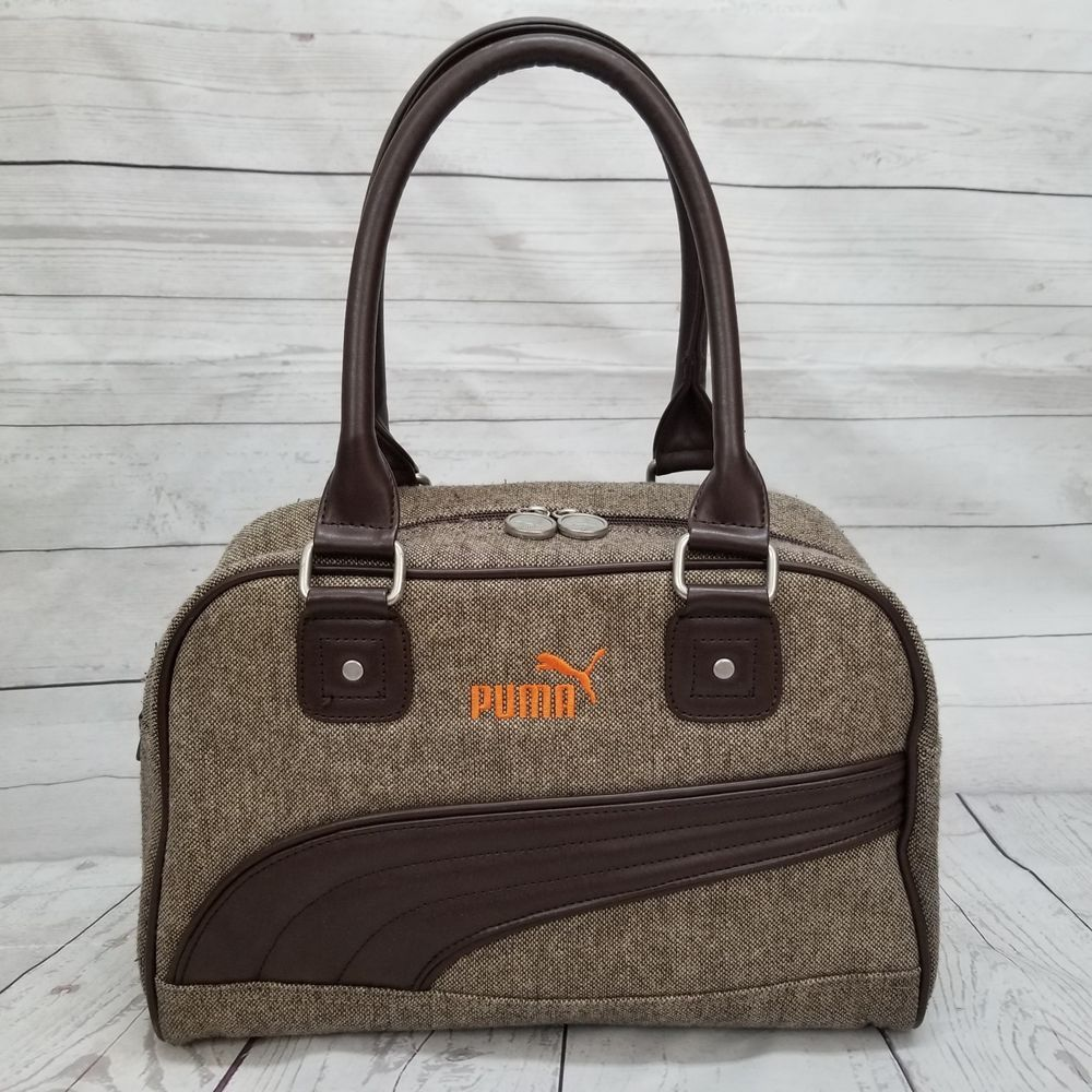 Puma Cartel Brown Wool Blend Tweed Knit Handbag Purse Shoulder Bowling Bag   PUMA  ShoulderBag 4b347c71628d3