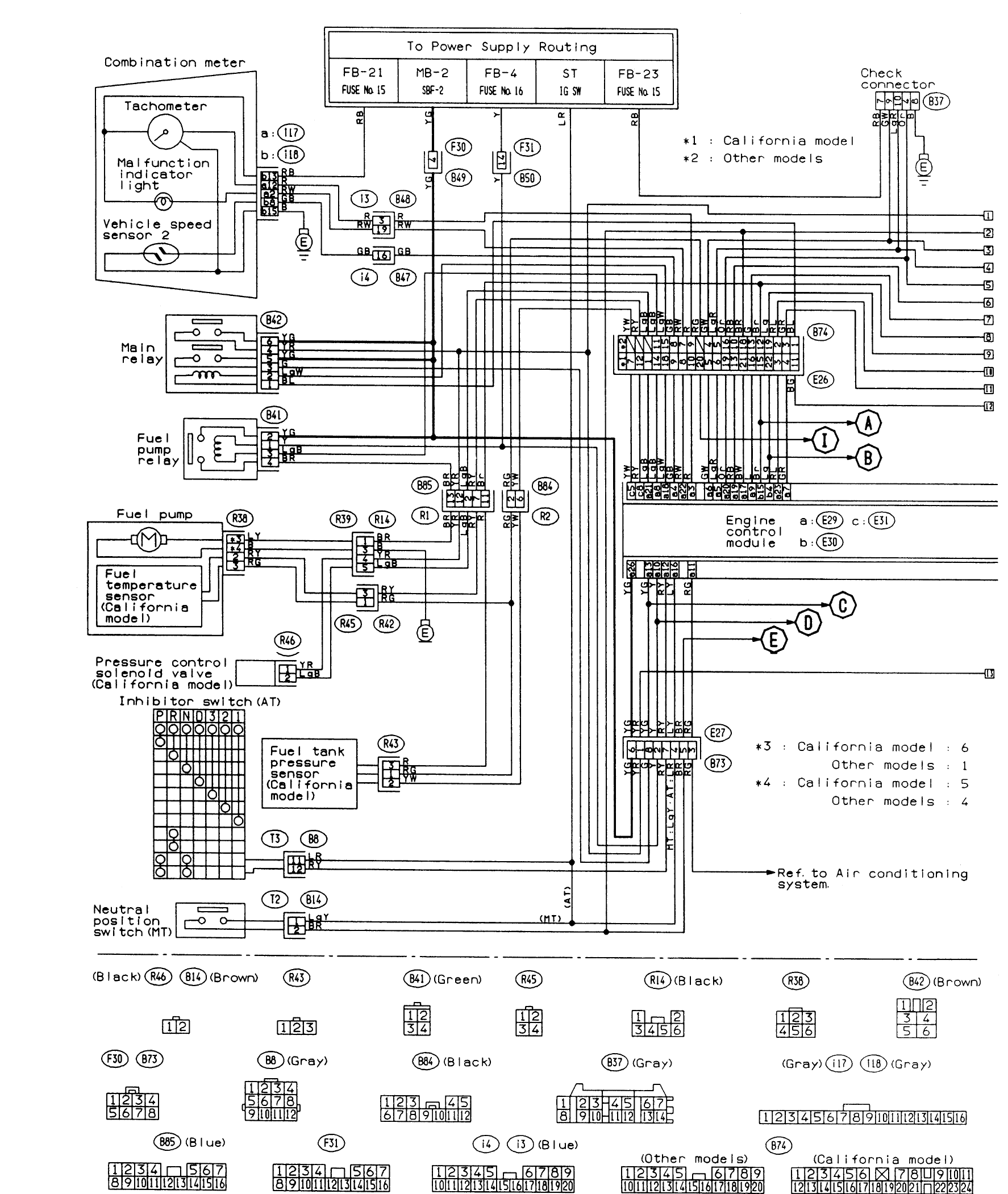 electrical diagram for ac unit in 2009 subaru forester | Pinouts for 95 impreza 18 ECU