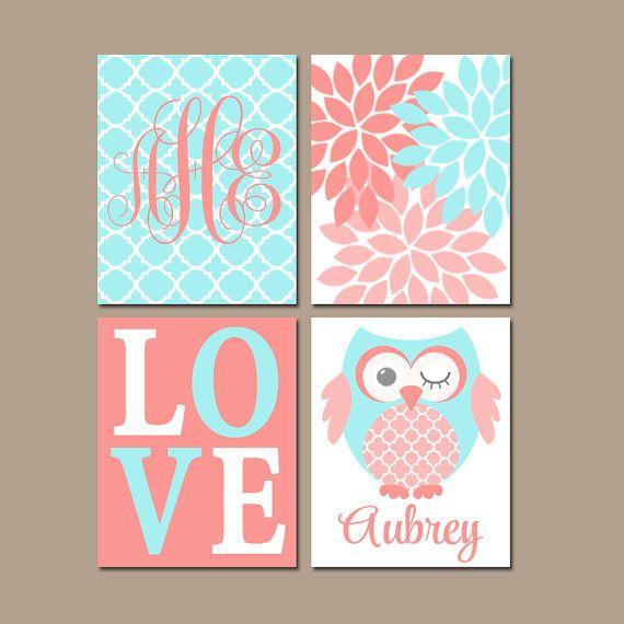 Owl Nursery Decor C Aqua Wall Art Baby