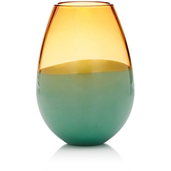 Caleb Siemon Two Banded Crystal Barrel Vase ($244) ❤ liked on Polyvore featuring home, home decor, vases, hand-blown glass vases, green home decor, czech crystal vase, crystal home decor and etched crystal vase
