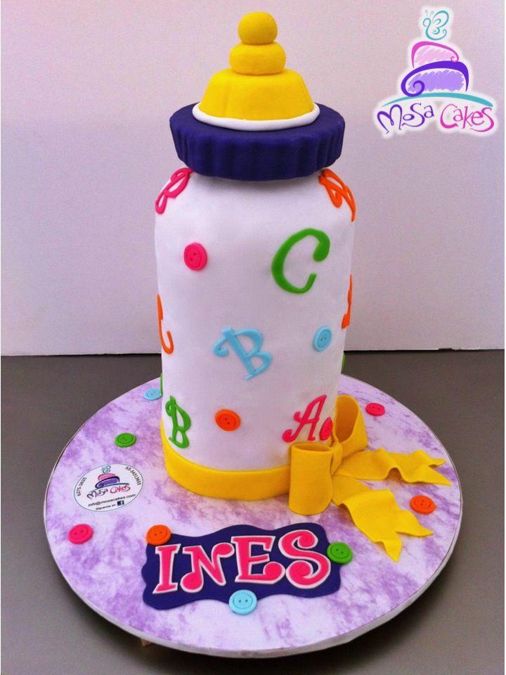 Baby Bottle Fondant Cake, Pastel De Mamila, Pastel De Biberon